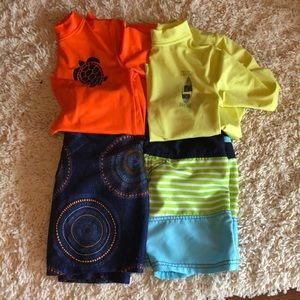 Other - 6/7 boys 2 rash guard tops & matching swim trunks